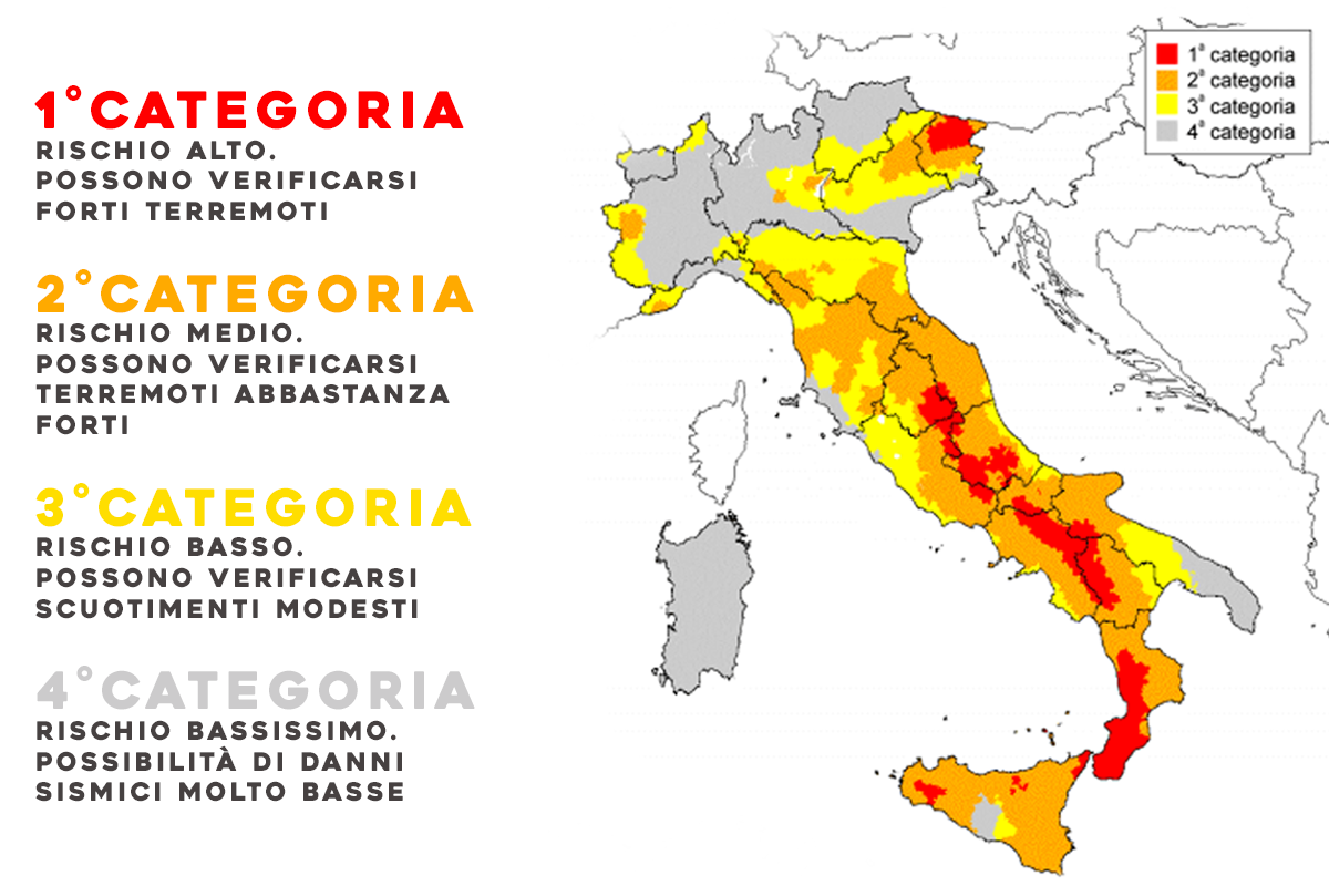 Mappa sismica italiana, divisa in quattro zone di rischio
