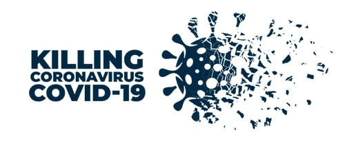 Logo indicating the sanitization and removal of coronovirus covid-19